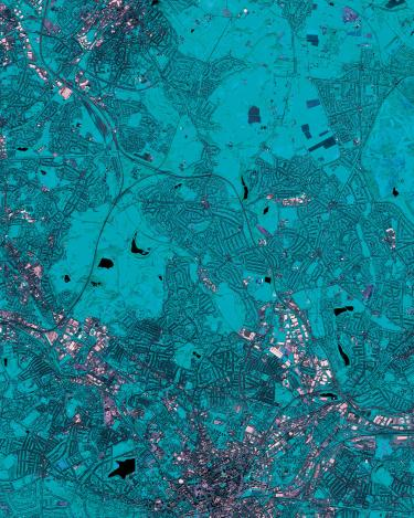 Spaghetti Junction is a nickname sometimes given to a complicated intertwined road traffic interchange that resembles a plate of spaghetti. The term was originally used to refer to the Gravelly Hill Interchange on the M6 motorway in Birmingham. (Deimos-2 image © Deimos Imaging, an UrtheCast company)