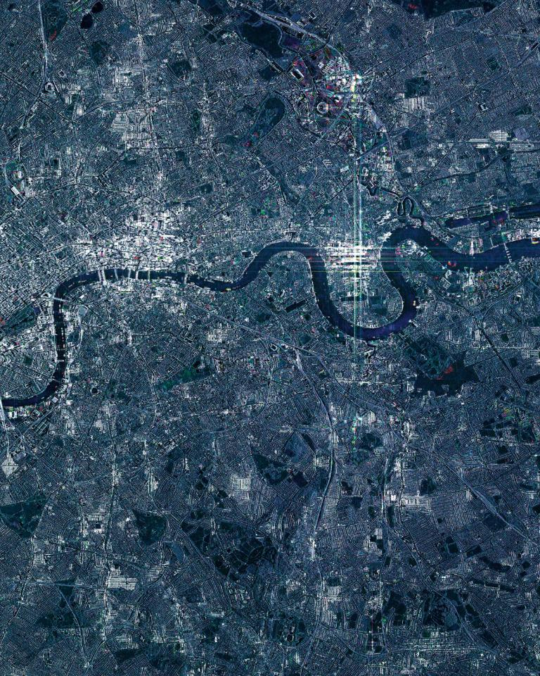 View of the city of London, acquired by the radar satellites of COSMO-SkyMed constellation, able to obtain images in all weather conditions, even through clouds, day and night. (COSMO-SkyMed image ©ASI, Processed and distributed by e-GEOS)