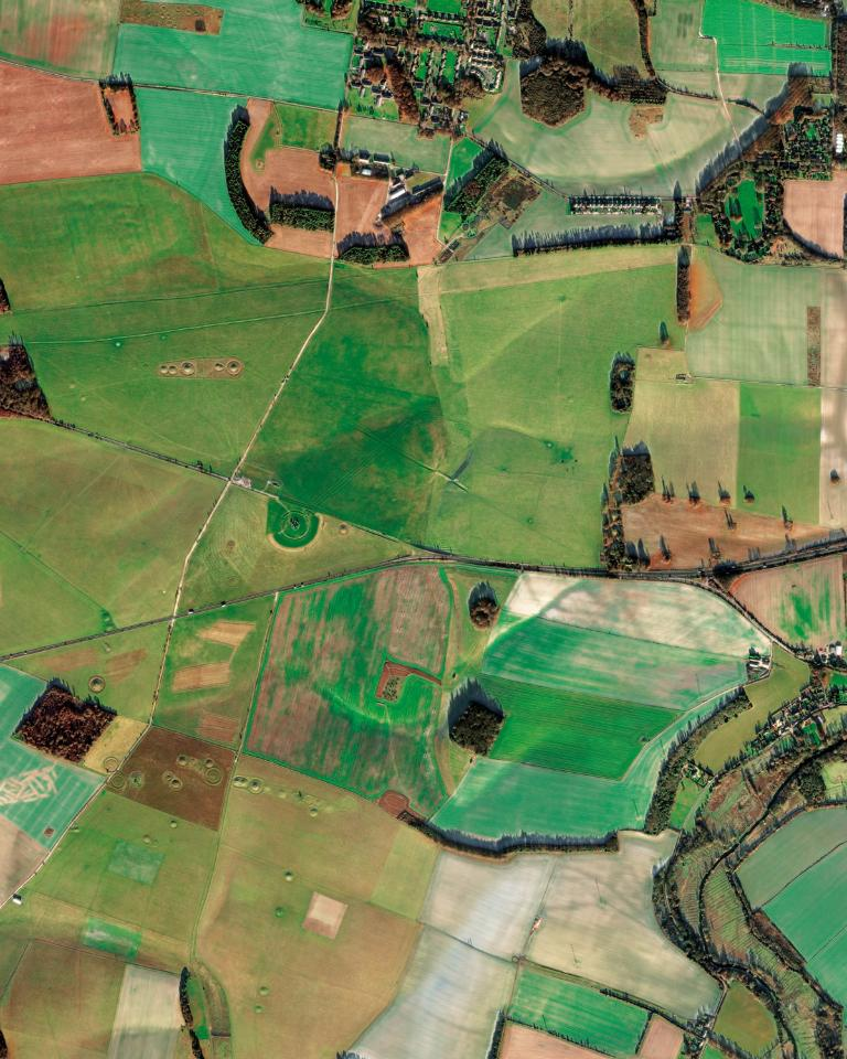 One of the most famous landmarks in the UK; Stonehenge is regarded as a British cultural icon. It is a prehistoric monument in Wiltshire. Archoelogists believe it was constructed from 3000 BC TO 2000 BC. (WorldView-2 image ©DigitalGlobe)
