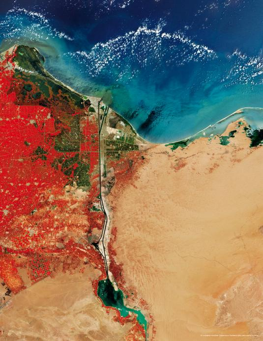 The Suez Canal is located in northeastern Egypt, with the Port Said at its northern end. Vegetation appears red in this false-colour image, highlighting the contrast between the lush Nile Delta to the west of the Canal and the barren Sahara to the east. 30°42′N 32°20′E  © contains modified Copernicus Sentinel data, processed by ESA