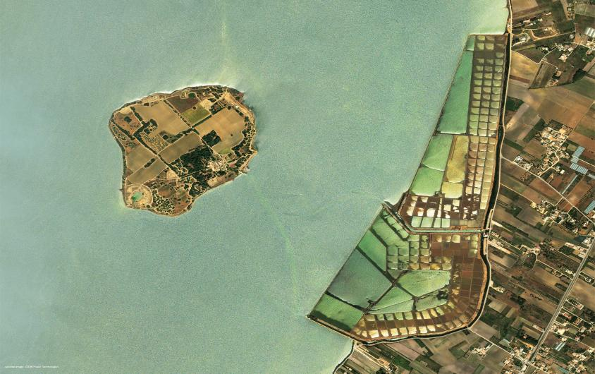 Founded by the Phoenicians in the VIII century BC, at the beginning of the nineth century impressive archaeological findings were discovered. Along the coast of Trapani, in front of the island, the landscape is characterized by the Stagnone salt pans. 37°52′N 12°28′E satellite image ©2019 Maxar Technologies